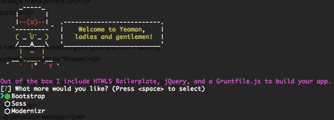 Yeoman generator web app prompt